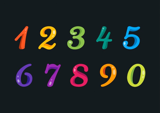 Playful colorful rounded numbers