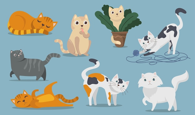 Playful cute cats flat item set. cartoon fluffy kitties, kittens and tabbies sitting, playing, lying and sleeping isolated vector illustration collection. pets and animals concept