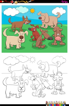 Playful dogs animal characters group color book