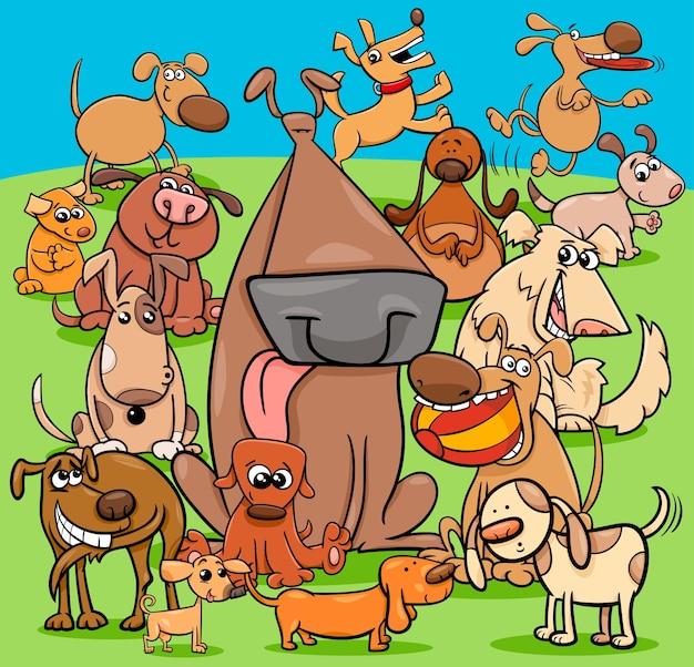 遊び心のある犬の漫画のキャラクターグループ