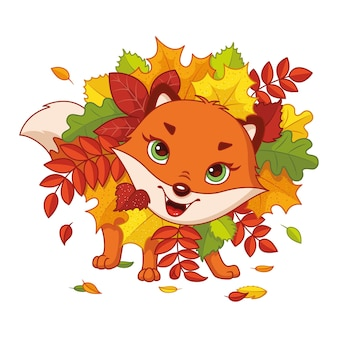 Игривая лиса в осенних листьях векторные иллюстрации шаржа