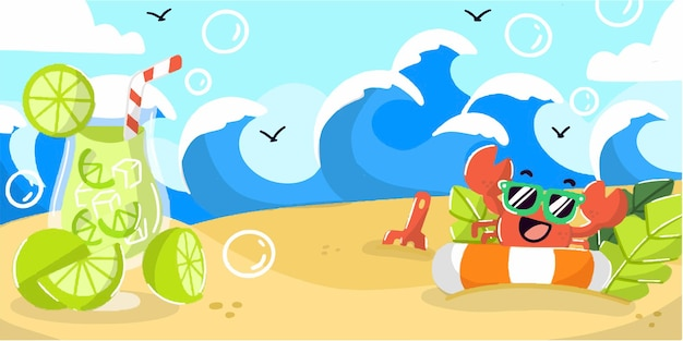Playful and fun summer beach banner doodle illustration