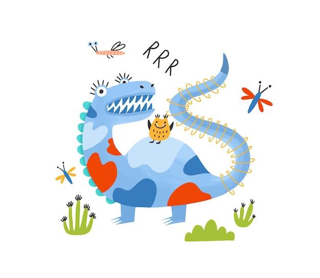 Playful monster, alien, dragon or dinosaur. adorable fantastic magical creature or mascot.