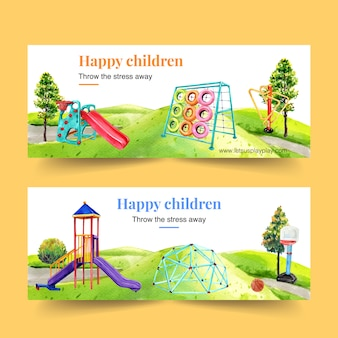 Playground banner design with slide, climbing frame watercolor illustration.