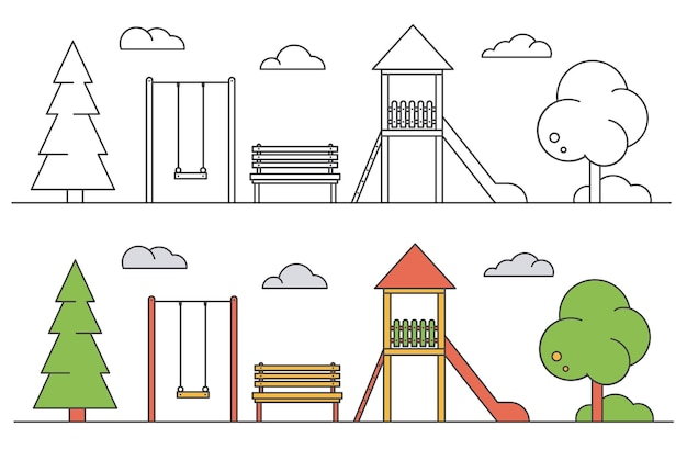Playground for children. landscape of park with swing, bench and slide.