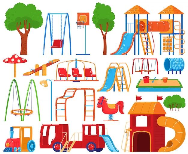 Детская площадка коллекция, набор иконок на белом, детский сад детское оборудование, иллюстрация