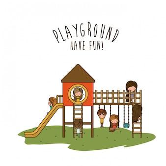 Дизайн детской площадки, векторная иллюстрация.
