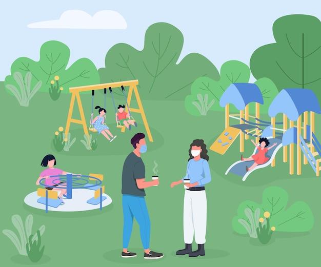 Детская площадка во время пандемии плоская. дети играют во время карантина.
