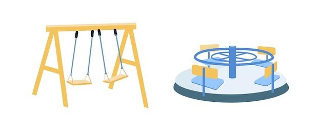 遊具フラットカラーオブジェクトセット。 2つのスイング。メリーゴーランド。子供たちの遊び場孤立した漫画
