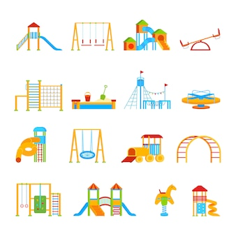 Playground equipment icon set