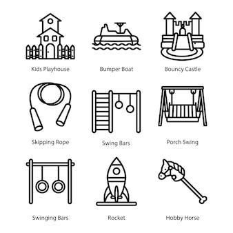 Playground equipment line icons set