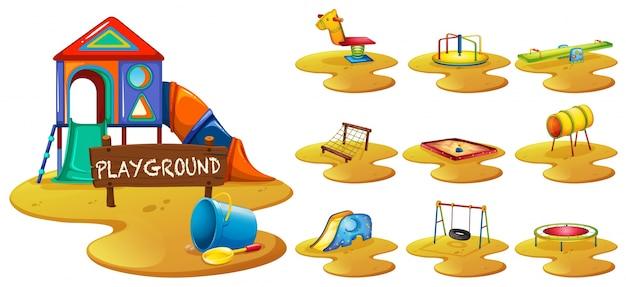 Playground equipments on the playground