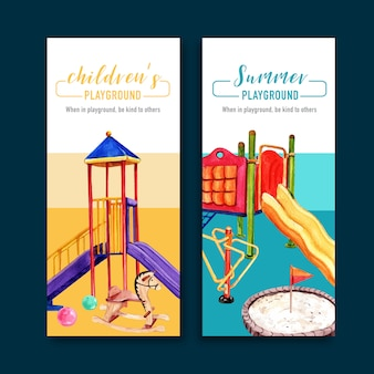 Playground flyer design with flag, ball, sandbox, jungle gym watercolor illustration.