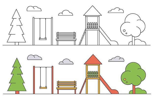 Детская площадка. пейзаж парка с качелями, скамейкой и горкой.