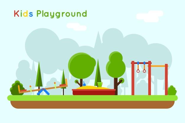 遊び場のイラスト。砂場、砂とおもちゃのある屋外幼稚園で遊ぶ
