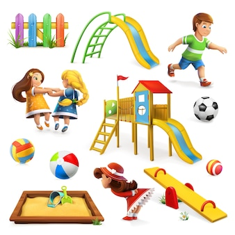 Набор иллюстраций детской площадки