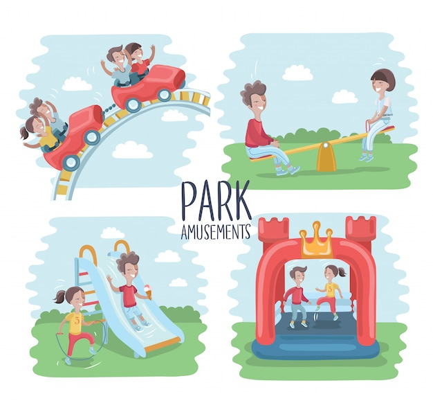 Playground infographic elements   illustration, children play on the outdoors, in the sandbox, boys and girls go for a drive on a swing. mom walking with children