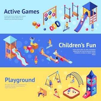 Playground isometric banners