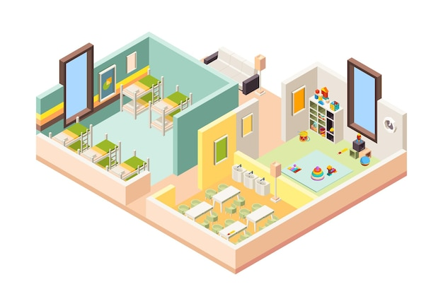 Детская площадка изометрические комнаты Premium векторы