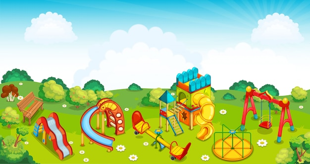 Playground on the meadow.  illustration.