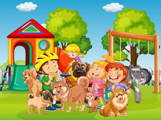 Playground outdoor scene with many children and their pet