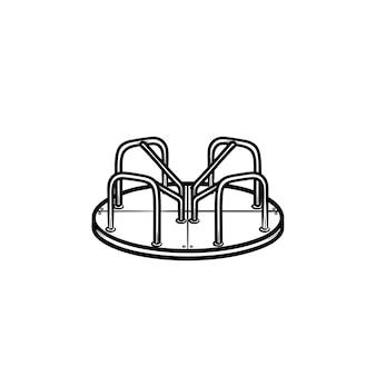 遊び場ラウンドアバウト手描きアウトライン落書きアイコン。白い背景で隔離の印刷物、ウェブ、モバイル、インフォグラフィックのカルーセルベクトルスケッチイラストと子供の屋外遊び場の概念。
