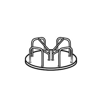 遊び場ラウンドアバウト手描きアウトライン落書きアイコン。白い背景で隔離の印刷物、ウェブ、モバイル、インフォグラフィックのカルーセルベクトルスケッチイラストと公園の遊び場の概念。