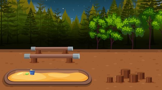 A playground scene at night