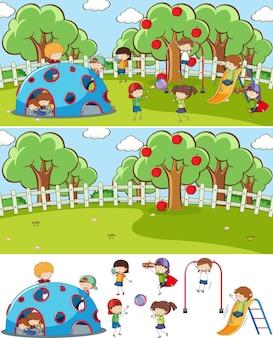 孤立した多くの子供たちの落書き漫画のキャラクターとセットの遊び場シーン