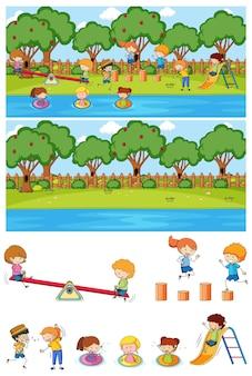 많은 아이 낙서 만화 캐릭터 격리와 설정 놀이터 장면