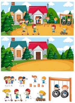 多くの子供たちが孤立した漫画のキャラクターを落書きで設定された遊び場のシーン