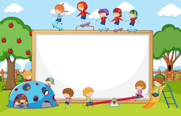 空白のバナーと遊び場のシーン多くの子供たちが漫画のキャラクターを落書き