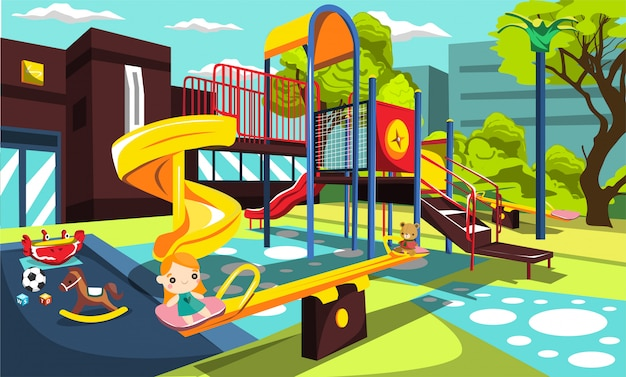 Playground at school park for children with swing and slides, kids toys, swirling fun seesaw