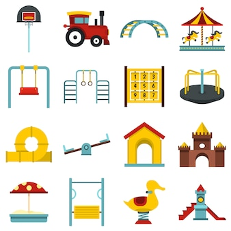 Playground set flat icons
