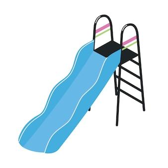 はしごが分離された遊び場スライド。子供の遊び活動、娯楽、娯楽、楽しみのための屋外装置またはツール
