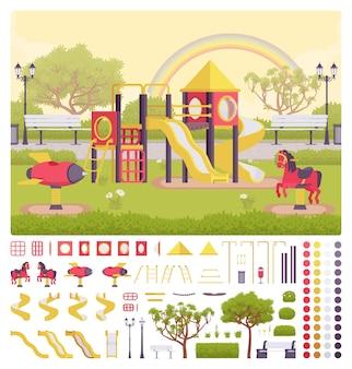 놀이터 구조 생성 세트, 야외 장식 아이디어, 레크리에이션 장비, 키즈 펀 키트, 자신만의 디자인을 구축할 수 있는 생성자 요소