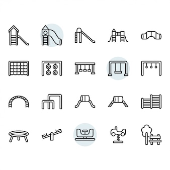 Playground thin line icon set