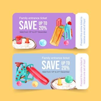 バルーン、スライド、サンドボックス、バケツの水彩イラストの遊び場チケットデザイン。