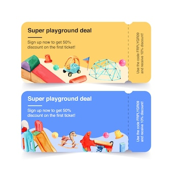Playground ticket design with little tikes, balloon, spring rider watercolor illustration.