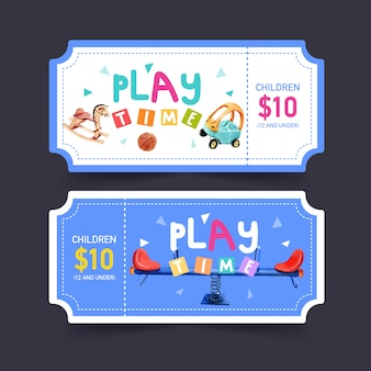 Playground ticket design with seesaw, rocking horse, basketball watercolor illustration.
