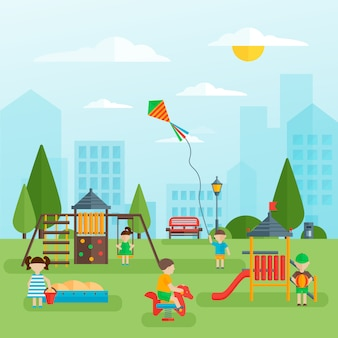 Playground with children flat design