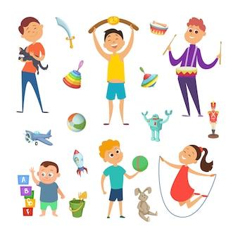 さまざまなアクティブゲームで遊んでいる子供の面白いキャラクターがいる遊び場