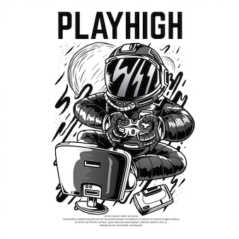 Playhigh black and white illustration
