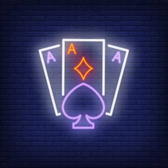 Playing ace cards neon sign