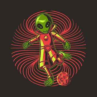 Playing ball with the position will kick the ball aliens illustration