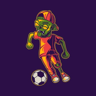 Playing ball in a zigzag dribble position zombie illustration