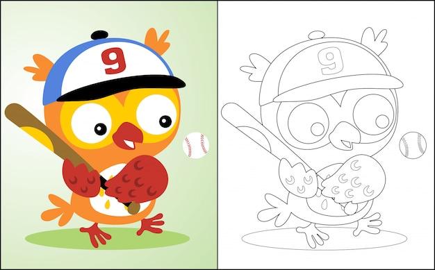 Playing baseball with owl cartoon