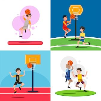 Playing basketball illustration