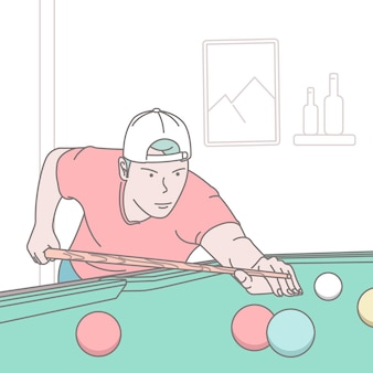 Playing billiards concept illustration