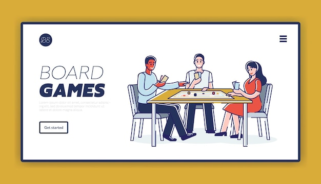 Играя в настольные игры, друзья проводят время за игрой дома